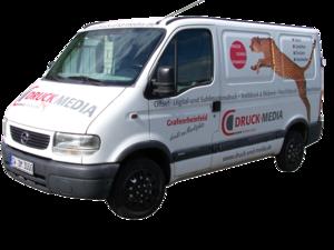 Abbildung des Liefer- und Montagefahrzeugs von Druck und Media Unteidig